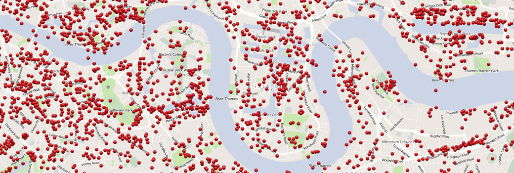 Map of London showing where the blitz bombs hit