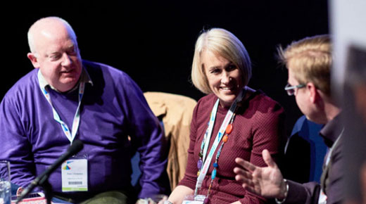 Peter Chatterton, Sarah Knight and James Kieft speak at a session at Digifest 2016
