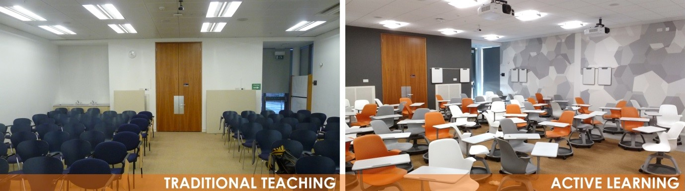 The Gannochy room before and after refurbishment. Designed by HLM Architects.