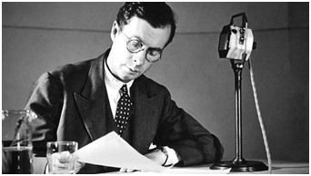 A black and white image of Julian Huxley next to a microphone
