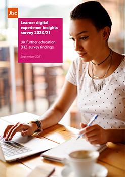 Front cover of Jisc's learner digital experience insights FE findings 2021