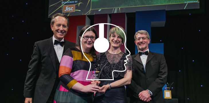 Left to right: Richard E Grant, Annabeth Robinson from Leeds College of Art, Jacqueline Houghton from the University of Leeds and Jisc CEO Paul Feldman at the 2016 THE Awards