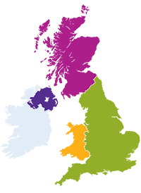 Map showing Jisc nations and regions