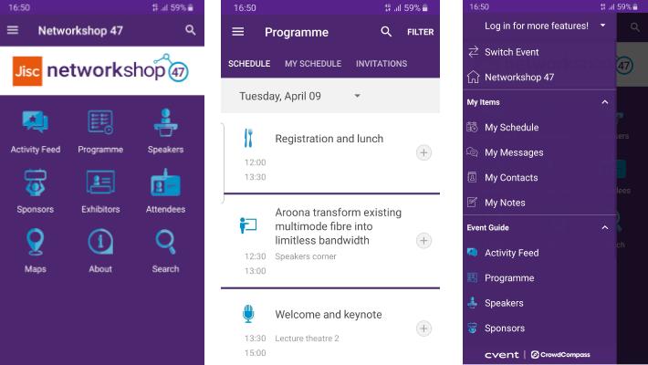 Networkshop47 app screenshots