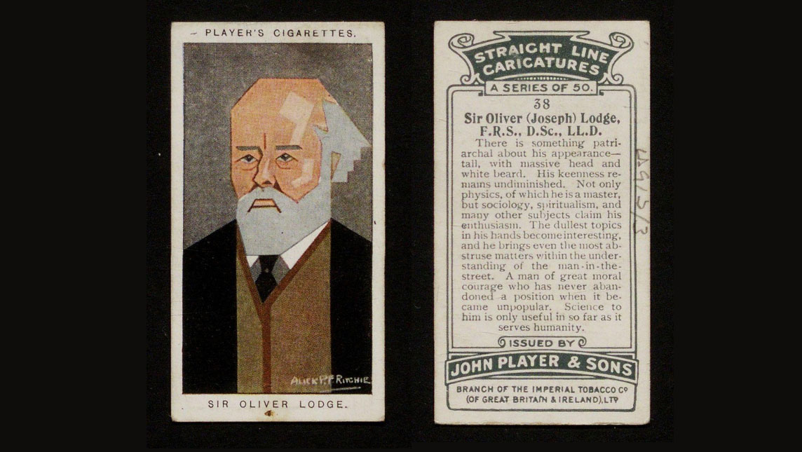 Photograph from Player's Cigarette card and cartoon caricature of Sir Oliver Lodge.