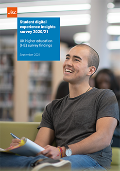 Front cover of Jisc's student digital experience insights HE findings 2021