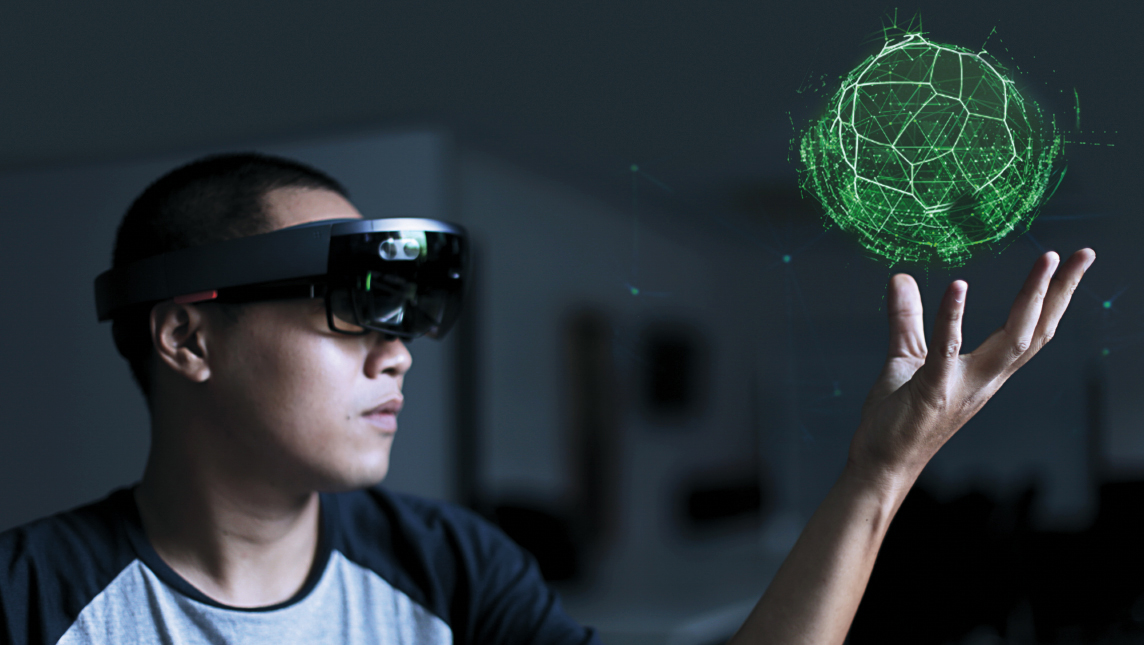 Virtual reality with hololens glasses