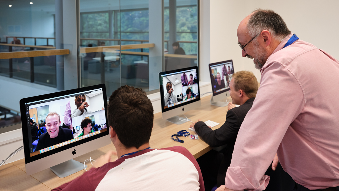 Nigel Jones with students using Microsoft Teams at Cardiff Metropolitan University