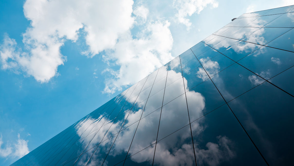 Cloud reflection on building