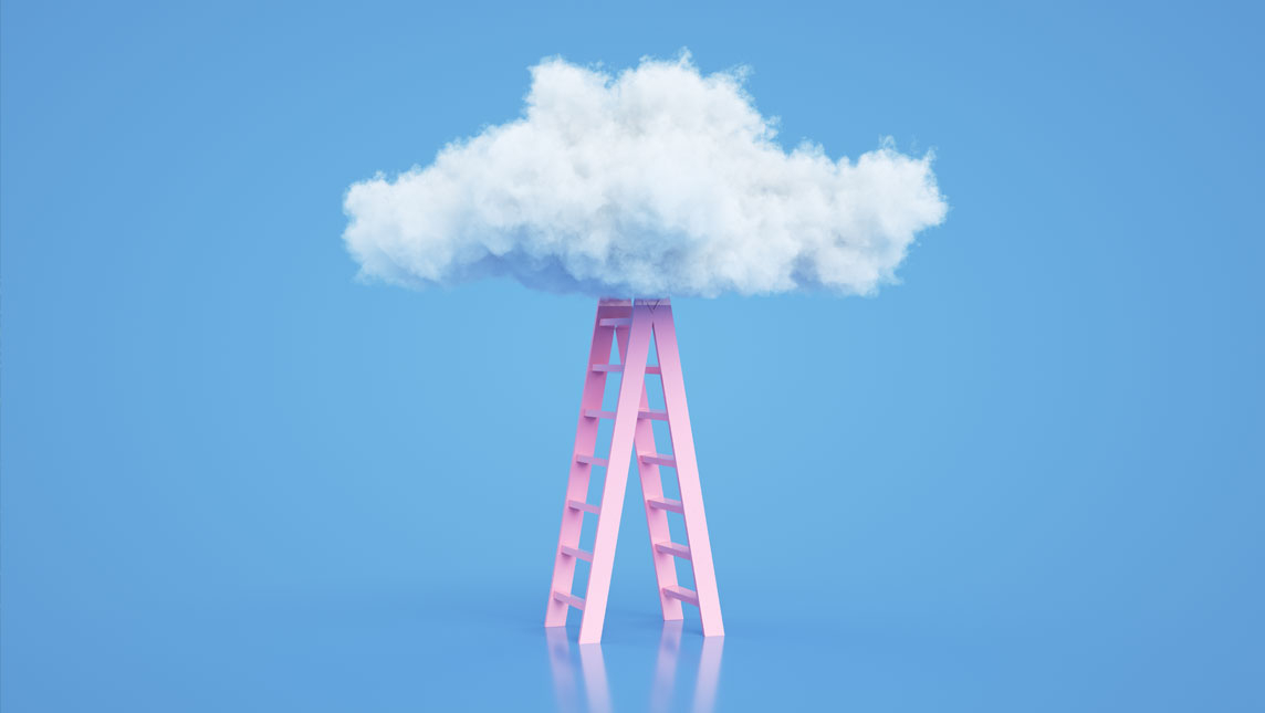 Steps to the cloud abstract illustration