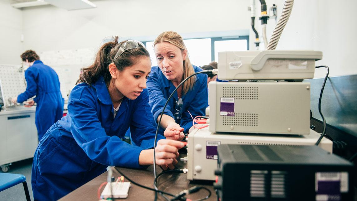 Engineering tutor and student