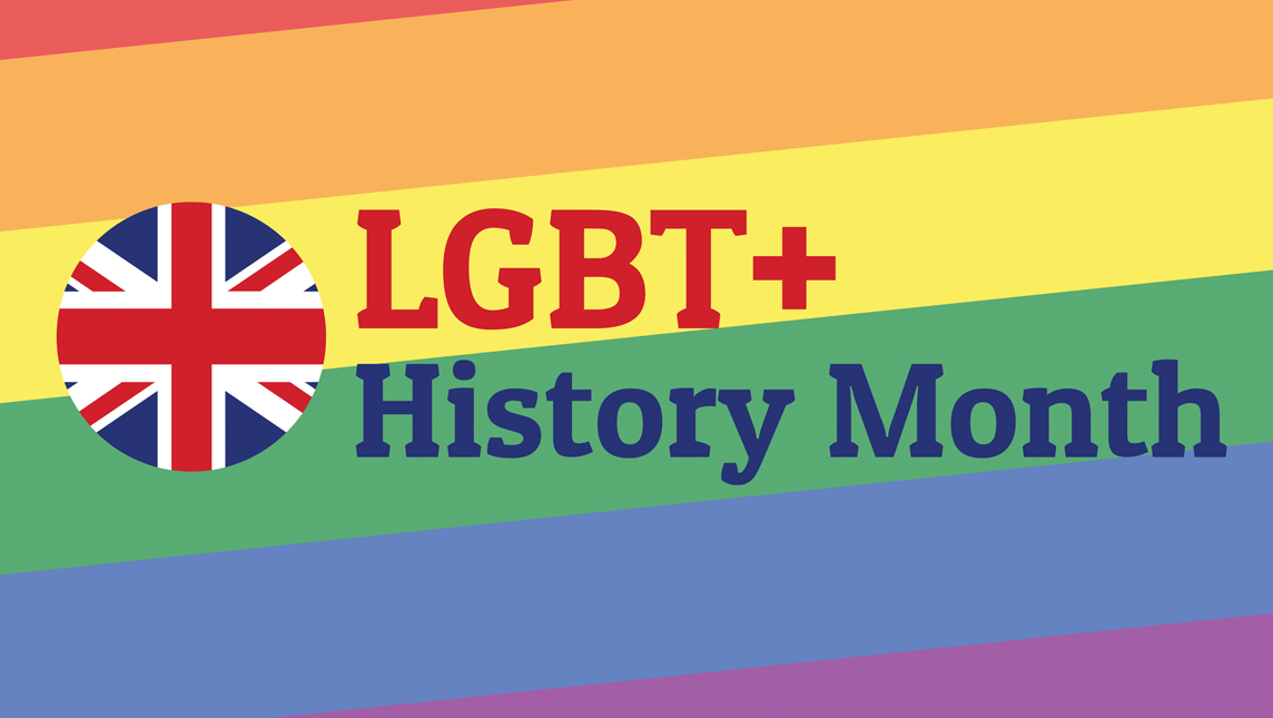 LGBT+  History Month on rainbow background