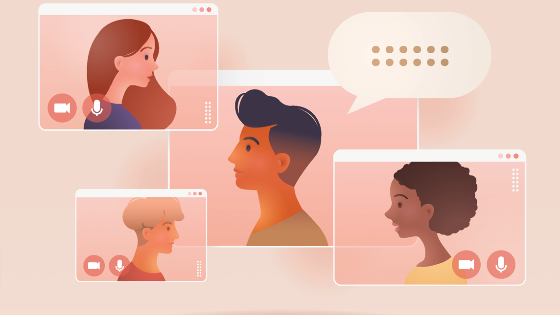 Illustration depicting video call between four people