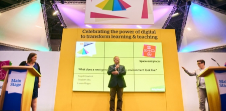 Elizabeth Ellis, Lawrie Phipps and Ange Fitzpatrick take part in the debate 'what does a next generation learning environment look like?' at Digifest 2017