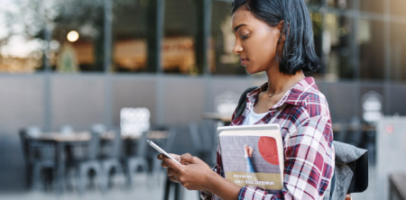 Student on a smartphone