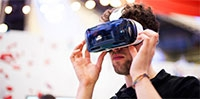 Using a virtual reality headset at Digifest 2015