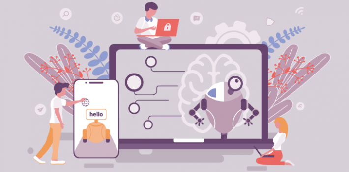 Illustration showing people using AI