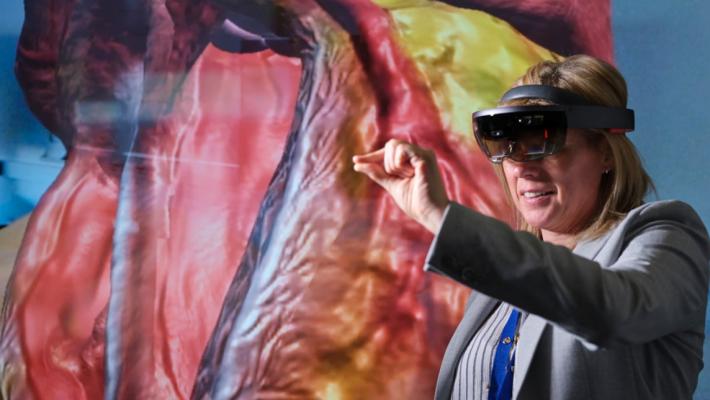 Deborah Millar, Grimsby Institute, using VR headset