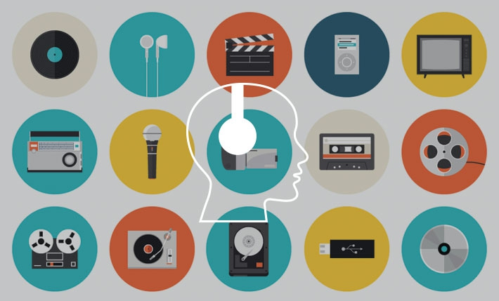 Illustrative icons of multimedia and technology