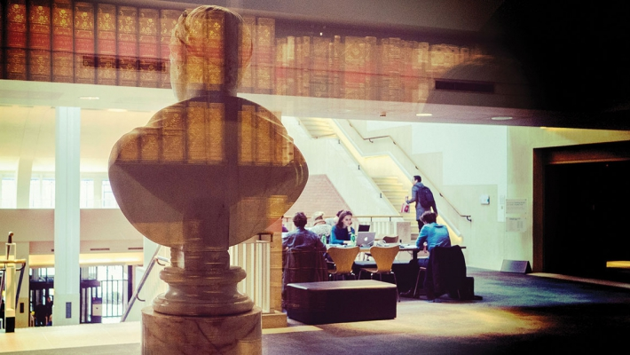 A view from inside the King's Library at St Pancras