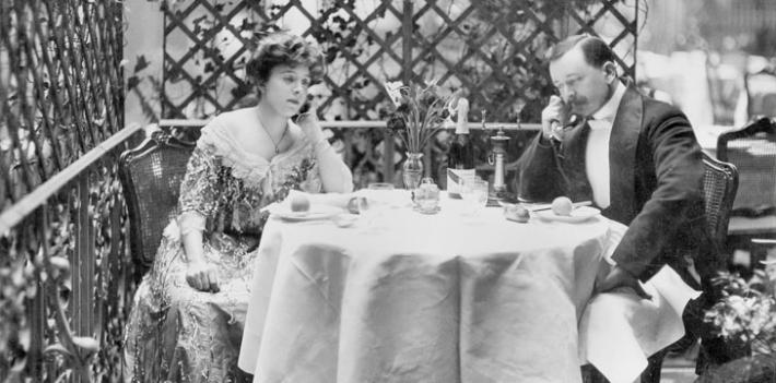 Telephone social etiquette, promotional photo (c1910)