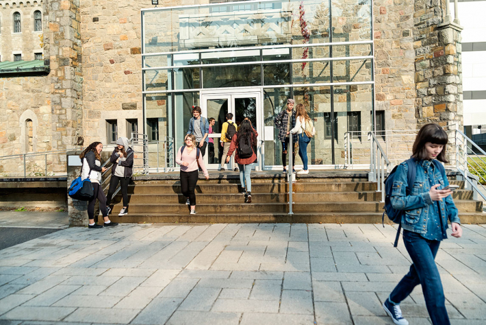 Students outside a college entrance