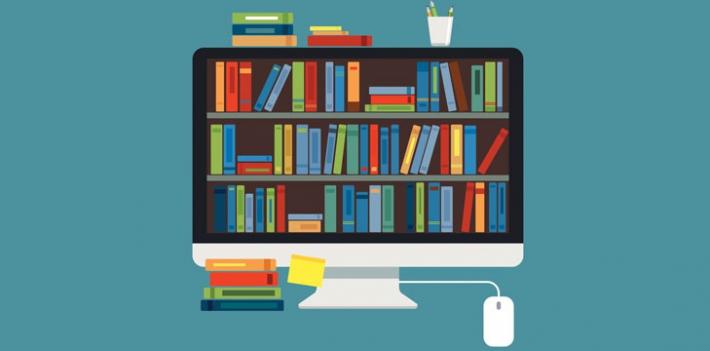 Illustration representing digital bookshelves