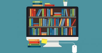 Illustration representing digital bookshelves