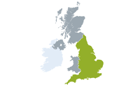 Map showing England