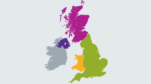 UK map showing Jisc customer services regions