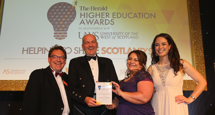 Jisc's Jason Miles-Campbell with Herald Higher Education award-winners from the University of Glasgow