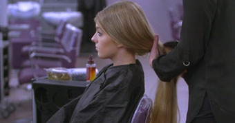 Still from Jisc Hairdressing Training fishtail plait video