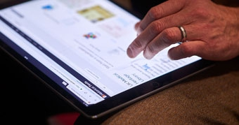 Browsing Jisc digital resources on a tablet