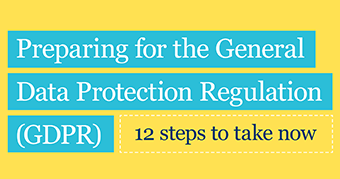 Front cover of ICO document: Preparing for the General Data Protection Regulation - 12 steps to take now