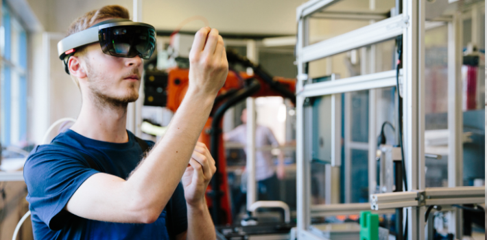 Engineer working with a head-mounted display