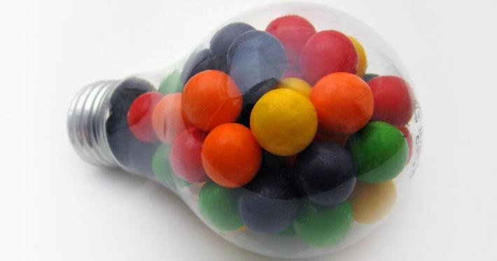 Lightbulb full of sweets