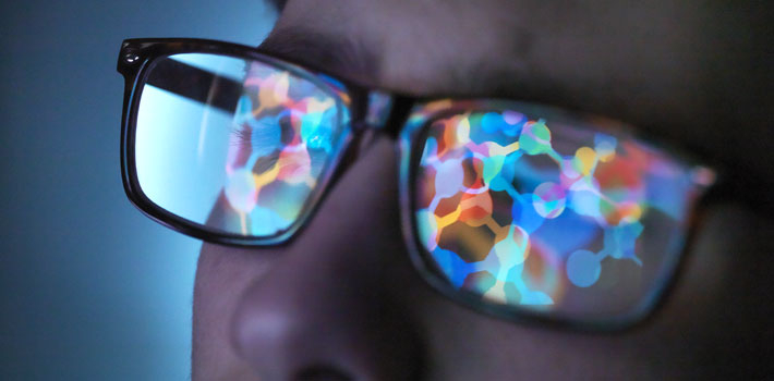 Lights reflected in glasses