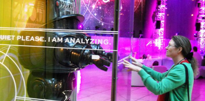 Miranda Mowbray with a robot