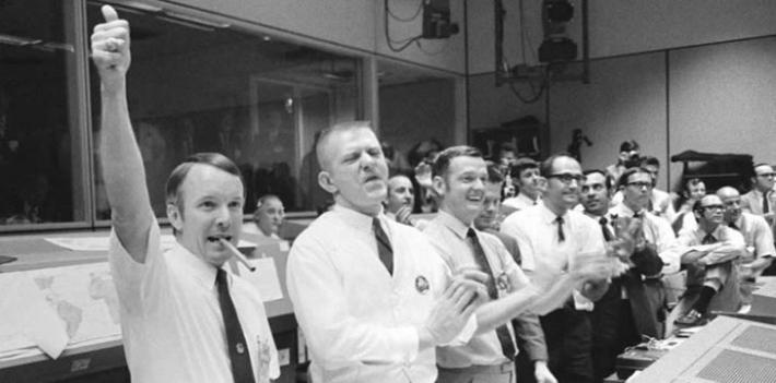 Apollo 13 Mission Control celebrates