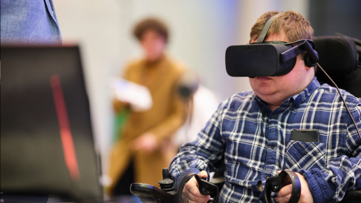 Murray Field using a VR headset at Digifest 2019