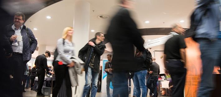 Delegates and exhibitors at Networkshop44