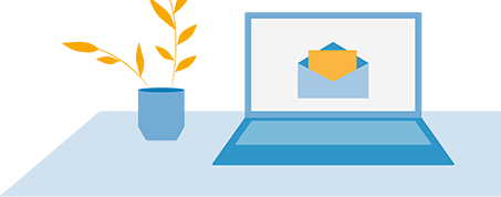 Illustration of an email on a computer.