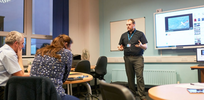 Ross Anderson speaks to staff at North Lindsey College