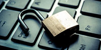 Padlock on a keyboard