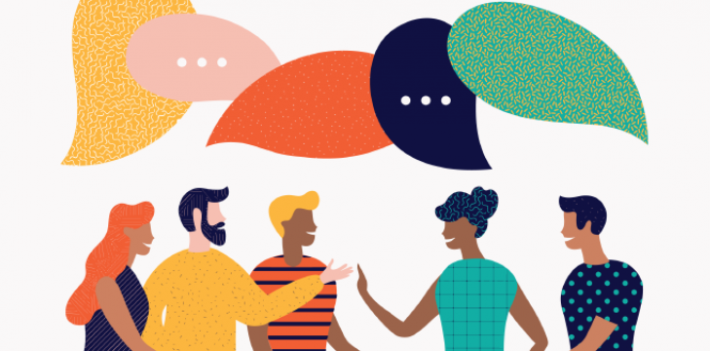 Illustration showing people in conversation, sharing information