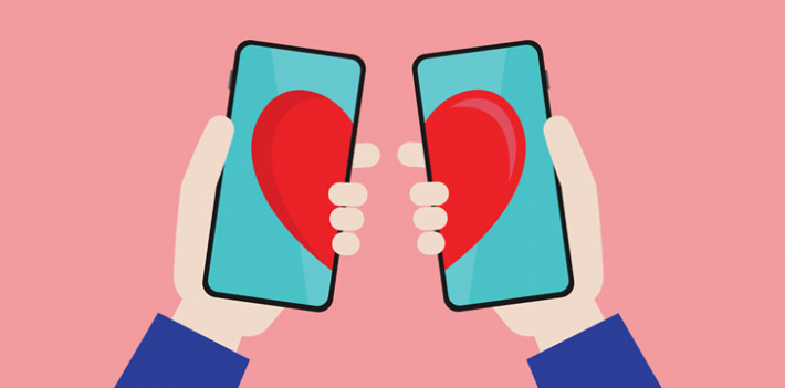 Illustration of phones showing hearts