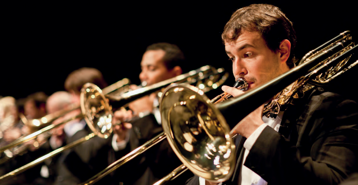 Trumpet players in an orchestra