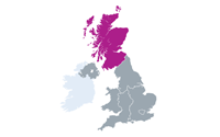 Map showing Jisc Scotland nation
