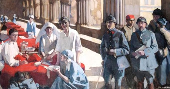 The Scottish Women's Hospital: In the cloister of the abbaye at Royaumont. Dr Frances Ivens inspecting a French patient