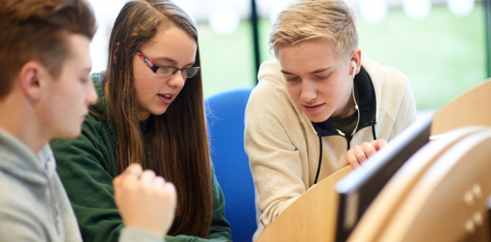 Scunthorpe College learners at a computer